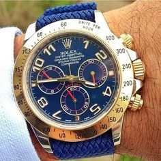 Rolex Daytona on a blue perlon strap from @whatchsdotcom by @eliasantoine | Your by watchanizer from Instagram http://ift.tt/1EPJ3Ni #luxurywatches