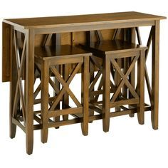"""Small spaces need big solutions. Enter our ingenious Kenzie Breakfast Table Set. Influenced by the Craftsman style of the early 1900s, Kenzie is all about clean, honest design. Hewn from natural acacia and engineered wood, it features details like a hinged drop-leaf top, tapered legs and end crossbars, which are both decorative and functional—all with a beautiful java finish. Opens wide for dining, folds down to a compact 18"""" when not in use. Two sturdy stools store neatly inside the foot…"""