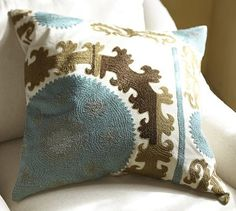 Suzani Embroidered Pillow Cover - Cool #potterybarn...These are beautiful colors for an office