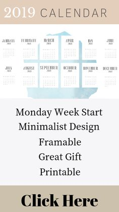 2019 Printable Calendar. This printable calendar has a Monday start and the months are in a subtle black graphic typography.   Perfect for printing to use in your office, put in a frame or to give as a gift.   #2019calendar #printable calendar #framable calendar #goldfrontcalendar #minimalistcalendar #giftidea