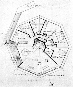 Floor plan of the Chemosphere house in Los Angeles taken from p70 Popular Science, April 1961.