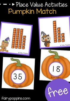 Pumpkin Place Value Activities Free pumpkin place value activities for kindergarten and first grade. Great for Halloween and math centers ~ Fairy Poppins Centers First Grade, First Grade Activities, Second Grade Math, Kindergarten Activities, Grade 1, Preschool, Teaching Math, Place Value Activities, Math Place Value