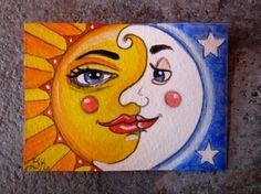 """Sun Moon & Stars Art ACEO 2 1/2"""" x 3 1/2"""" Painting"""