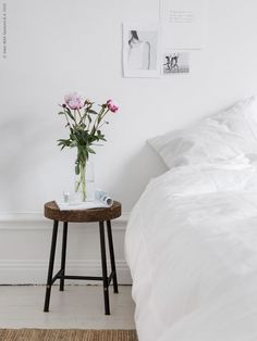 Minimalist bedroom with an IKEA stool doubling as a nightstand Ikea Inspiration, Interior Inspiration, Sinnerlig Ikea, Home Bedroom, Bedroom Decor, Design Ikea, Diy Design, Interior Design, Lohals