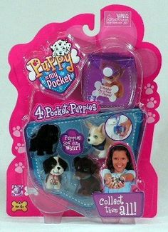 Puppy in My Pocket 4 Pocket Puppies W/clip-on Pouch by PlayAlongToys. $14.99. Includes 4 puppies - Katie, Bruno, Annie and Sissy. Includes clip-on pouch!. 4 Pocket puppies you can wear. Clip-on anywhere!