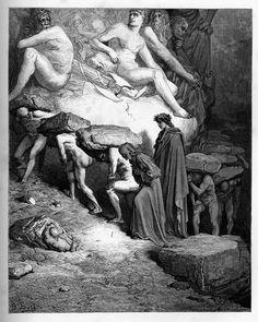 Purgatory: Dante among the Proud. Creator: Doré, Gustave Date: c.1868