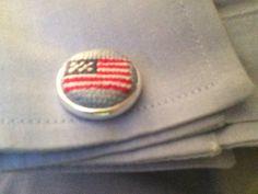 Needlepoint American Flag Cufflinks