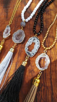 Druzy necklace. Electroplated druzy tassel by AllAboutEveCreations