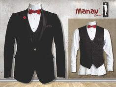 Lead the pack don't follow it. Black Italian suit with a buffling jacket, white tuxedo shirt, pocket square and bow tie #Suit #SuitUp #Tuxedo #IndianWear #Fashion #MensFashion #MensWear #ManavEthnic www.manavethnic.com