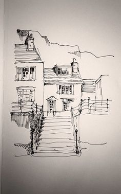 cottages On the harbour. I drew this sketch in a Moleskine notebook whilst on a train,& was really pleased at the wavy lines!On the harbour. I drew this sketch in a Moleskine notebook whilst on a train,& was really pleased at the wavy lines! Pen Sketch, Drawing Sketches, Art Drawings, Pencil Drawings, Sketching, Arte Sketchbook, Architecture Sketches, Landscape Drawings, Urban Sketchers