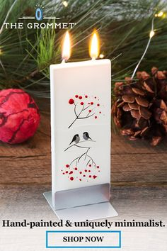 These candles stand out in their simplicity. Hand-painted in Lithuania, the holiday patterns add a touch of festive to your space. The flatter design is a unique approach to candles that has a minimal (and eye-catching) feel. The twin wicks burn evenly an Merry Christmas, Handmade Christmas, Christmas Holidays, Christmas Decorations, Xmas, Christmas Ornaments, Christmas Projects, Holiday Crafts, Holiday Ideas