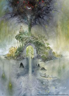Avalon by: Stephanie Pui-Mun Law - Shadowscapes Nocturne, Fantasy World, Fantasy Art, Mists Of Avalon, Earth Design, Mystique, Visionary Art, Watercolor Illustration, Pagan
