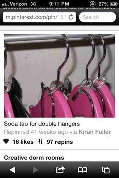 College hanger... soda tab double up Gonna bring so many clothes, so helpful!