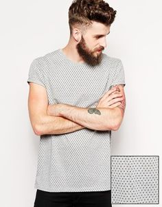 ASOS T-Shirt With All Over Polka Dot Print And Rolled Sleeve Skater Fit