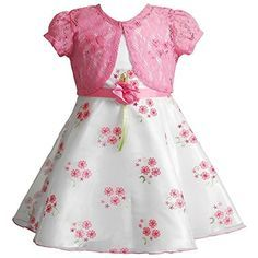 This girls' Youngland satin dress and crochet shrug set offers her the perfect combination of sweet and sophisticated style. Girls Christmas Dresses, Little Dresses, Little Girl Dresses, Cute Dresses, Kids Frocks Design, Floral Chiffon Dress, Kohls Dresses, Dress Patterns, Baby Dress