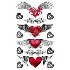 Winged Heart Tattoos Temporary Tattoo