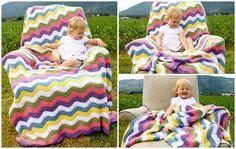 Crocheted Rainbow Blanket Custom Waves by WarmingHeartsCrochet