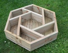 Handmade hexagonal wooden herb wheel garden planter by Bogglewood- I want one of these! #herbgardening