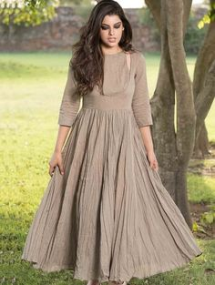 Gray Solid Gathered Flare Long Kurti