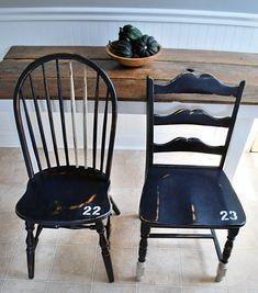 Vintage locker room chairs {Love the paint placement and #'s}  from 508 Restoration & Design.