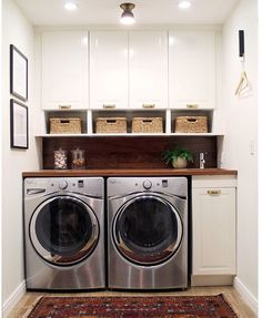 Small laundry room for the win! L-O-V-E finishing touches (including our Thurman Flush Mount + Mission Bin Pulls + Glass… Mudroom Laundry Room, Laundry Room Remodel, Small Laundry Rooms, Laundry Room Organization, Laundry Room Design, Laundry In Bathroom, Compact Laundry, Laundry Area, Storage For Laundry Room