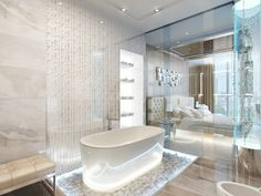 schön beleuchtete Badewanne und Blick zum Schlafzimmer