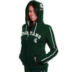 Michigan State Spartans Ladies Green School Daze Full Zip Hoodie Sweatshirt #Fanatics