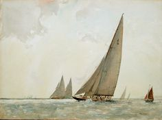 Sir Tommy Sopwith's J Class yacht 'Endeavour' built by Camper & Nicholsons in 1934 and captured in watercolour by Arthur Briscoe in 1935