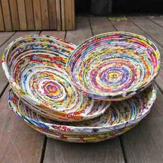 Recycled paper projects that you can try at home Recycled Magazine Crafts, Recycled Paper Crafts, Recycled Magazines, Old Magazines, Recycled Crafts, Diy Crafts, Magazine Bowl, Rolled Magazine Art, Paper Bowls
