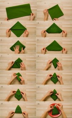 red plate, wooden background, paper napkin folding, green napkin, in the shape of a christmas tree folding ideas tutorials ▷ 1001 + ideas for Insta-worthy napkin folding techniques and tutorials Christmas Tree Napkin Fold, Christmas Napkins, Christmas Tree Crafts, Christmas Holidays, Christmas Ornaments, Christmas Table Settings, Christmas Table Decorations, Paper Napkin Folding, Folding Napkins