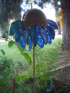 Stained Glass Coneflower Garden Yard Art Stake using Repurposed Vintage Flower Frog