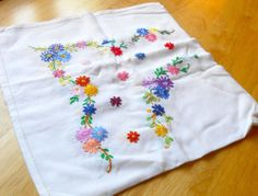 Pretty Cotton - Floral Hand Embroidered - Square Vintage Table Cloth