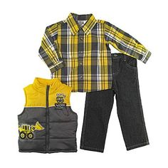Little Rebels Infant & Toddler Boy's Vest  Shirt & Jeans - Work Crew