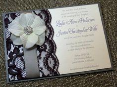 Black lace wedding invite