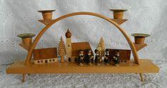 Vintage Erzgebirge Candelabra 4 Candle Arch Wood Carolers Choir Church Christmas