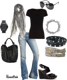 Great casual look plus Stella & Dot jewelry. I like everything but the shoes Grunge Outfits, Fall Outfits, Casual Outfits, Cute Outfits, Casual Attire, Look Fashion, Fashion Outfits, Womens Fashion, Korean Fashion