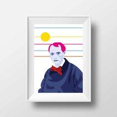 Affiche d'Art Littérature - Poster Illustration Charles Baudelaire Portrait Style Pop Art Poète Ecrivain Librairie Tirage Art Littéraire