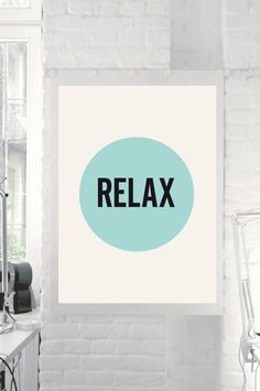 Printable Download Typography Poster Art Relax by TheMotivatedType, $9.00