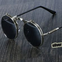 44653bd6be Steampunk Sunglasses Round Metal OCULOS De Sol Women Style Retro Flip  Circular Double Metal Sun Glasses