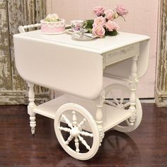 White Shabby Chic Teacart, I have one just like this and am totally doing this