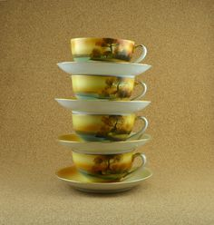 Noritake Tree in the Meadow Cups and Saucers by TreasuryShop, $44.00