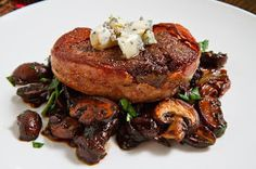 ... Bacon Wrapped Filet Mignon with Caramelized Mushrooms topped with Blue