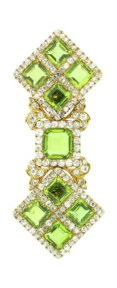 An Unusual Antique Gold, Diamond and Peridot Double clip/brooch