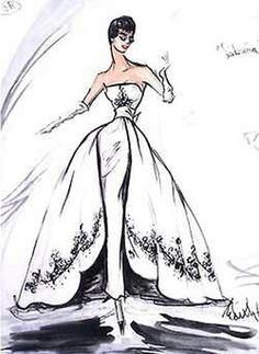 Ciao Bellísima - Vintage Sketchbook; Audrey Hepburn | Edith Head Design in Sabrina, 1954