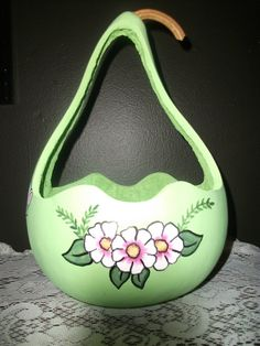 Easter Basket Handpainted gourd with Bunnies by midnightcrafter53, $25.00