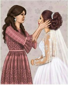 Mother And Daughter Drawing, Mother Art, Beautiful Girl Drawing, Cute Girl Drawing, Cartoon Girl Images, Girl Cartoon, Sarra Art, Mode Poster, Best Friend Drawings