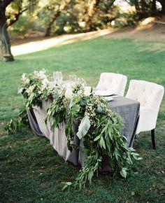 Lush Green Garland at Sweetheart table Garland Wedding, Wedding Decorations, Table Decorations, Centerpieces, Bridal Table, Wedding Table, Wedding Reception, Wedding Ideas, Marriage Reception