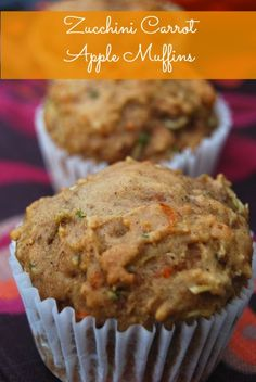 Zucchini carrot apple muffins: These were so good! Subbed half the oil for a strawberry applesauce cup, and baked the minimum.