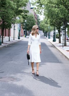 white vneck midi dress black ankle strap sandals