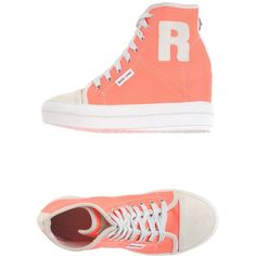 Ruco Line Sneakers (245 AUD) ❤ liked on Polyvore featuring shoes, sneakers, coral, ruco line shoes, 2 tone shoes, wedges shoes, wedge sneakers and wedge trainers